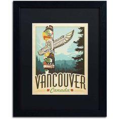 Trademark Fine Art Vancouver, Canada Canvas Art by Anderson Design Group, Black Matte, Black Frame, Size: 11 x 14