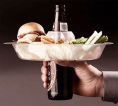 No more wondering how you're going to hold your beer and eat at the same time. Need to find these for a BBQ next summer. Fun!!