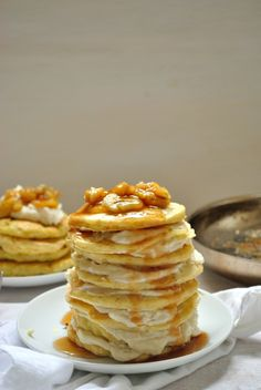 Gluten-free Oatmeal Pancakes with Sweet Ricotta and Caramelized Bananas