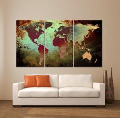 """LARGE 30""""x 60"""" 3 Panels 30""""x20"""" Ea Art Canvas Print World Map Texture Abstract Wall Decor interior design Home Office (Included framed 1.5"""" depth) - BoxColors"""
