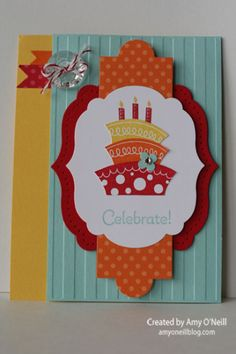 Stamps:  Topsy-Turvy Celebration Ink:  Pool Party, Real Red, Pumpkin Pie, Daffodil Delight Paper:  Daffodil Delight, Pool Party, Real Red, Pumpkin Pie, Whisper White, Brights Designer Series Paper Stack Embellishments:  Stripes embossing folder, Labels Collection Framelits, Apothecary Accents Framelits, Bitty Banners Framelits, Itty Bitty Shapes Punch Pack, Vintage Faceted Designer Buttons, Rhinestone Basic Jewels, Cherry Cobbler Bakers' Twine, Festive Paper-Piercing Pack