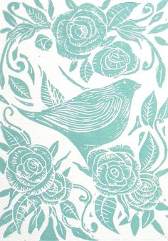Bird and Roses Lino Print by Mangle Prints, via Flickr