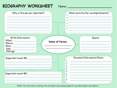 Biography Research Template  Template Language Arts And Social