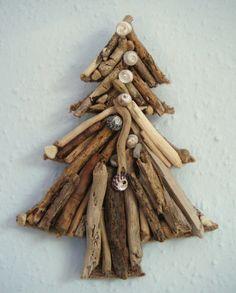 Handmade Driftwood and shell Christmas tree wall hanging (20cm deep x 15cm across)