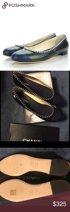 Chanel Lambskin Cap Toe Pearl CC Ballerina Flats 100% AUTHENTIC CHANEL Lambskin Cap Toe Pearl CC Ballerina Flats 40.5 Black Navy. The shoe is crafted of lambskin leather in black with a navy blue top edge and cap toe. They feature a top edge lined with pearl studs and a small pearl-lined Chanel CC logo on the outside of the heel. These are excellent flats with the timeless quality and style of Chanel! NEVER WORN! CHANEL Shoes Flats & Loafers