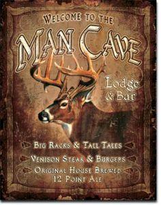 Man Cave Lodge Big Racks & Tall Tales Deer Hunting Cabin Game Room Bar Tin Sign #1868