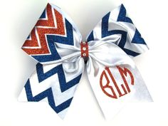Two Striped Glitter Mystique Cheer Bow Cheer Hair Bows, Pony O, Chevron Monogram, Boutique Hair Bows, Metallic Colors, Accent Colors, 4th Of July Wreath, Glitter, Etsy