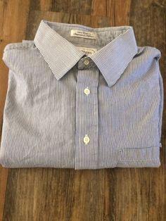 Mens Burberrys Of London Cotton 17 36 Long Sleeve Dress Shirt Blue White Stripes #Burberry