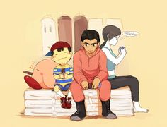 Wii Fit Trainer, Little Mac, Ness and Kirby.