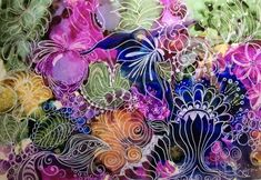 By PJ Morter. Alcohol Ink and gel pen on Yupo.