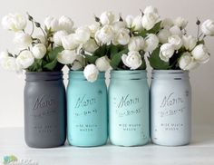 FEATURED IN ETSY SUCCESS EMAIL !  This listing is for 4 jars. All jars come with lids.  I pride myself in creating unique colors and styles of painted