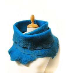 Blue petrol scarf hand felted with merino wool by GabardineCouture, 88.00
