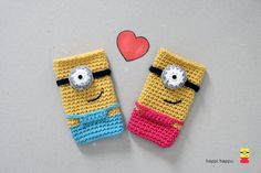 Minionette Crochet Phone Case Made To Order by happihappu on Etsy