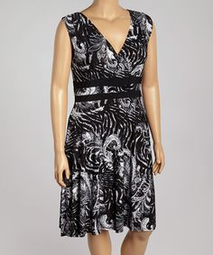 Look what I found on #zulily! Black & White Filigree Sleeveless Dress - Plus #zulilyfinds