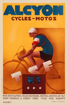 Alcyon Cycles-Motos Vintage French Bicycle Poster Print by Favre.