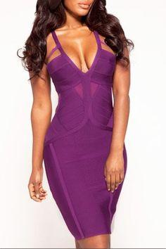$99.99 | Purple Textured Cutout Bandage Dress