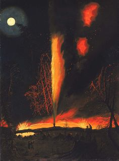 Burning oil well at night near Rouseville,Pennsylvania - artist James Hamilton Night Sky Painting, Moon Painting, Moonlight Painting, Hamilton, Rip Van Winkle, Oil Painting Gallery, Tumblr, Oil Painting Reproductions, 2d Art