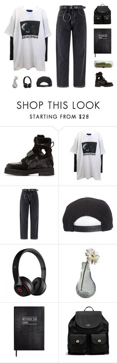 """""""Untitled #584"""" by stargazin-g ❤ liked on Polyvore featuring Hood by Air, Brixton, Beats by Dr. Dre, Dot & Bo, Sloane Stationery and Coach"""