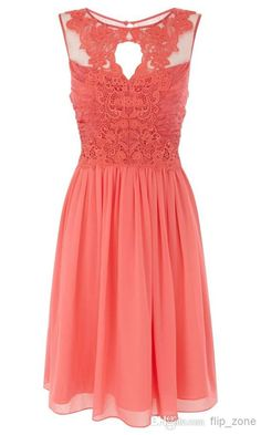 Discount 2014 New Beach Wedding Coral Lace Chiffon Bridesmaid Dresses Cheap Sheer Crew Neck Hollow Knee-Length Maid of Honor Gowns Online with $80.11/Piece on Flip_zone's Store | DHgate.com