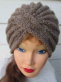 Knit Turban Gray Turban hat hand knitted womens by Ritaknitsall