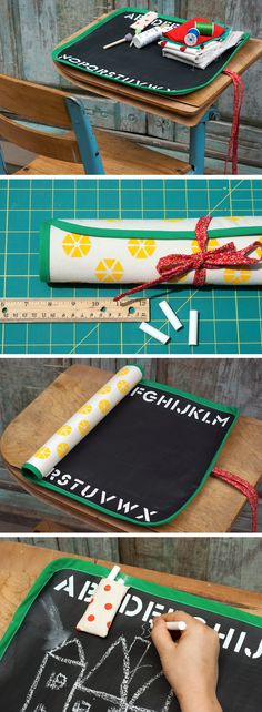 Super cool Chalkboard Mat (perfect for creative types of all ages!). Check out the tutorial by @Juanita Martin Charlotte with @Alissa Evans Evans Evans Evans Evans Huybers Crafts