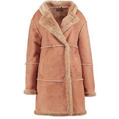 Boohoo Tall Jade Raw Edge Faux Fur Coat (185 PLN) ❤ liked on Polyvore featuring outerwear, coats, faux fur coat, beige coat, fake fur coats, beige faux fur coat and boohoo coats