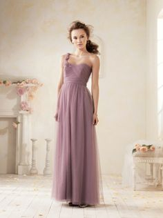 Source a subtle aura of romance in this ravishing evening gown from Alfred Angelo 8612L. Feather-like, self-fabric flowers flourish along the single shoulder strap, and a sprinkling of crystals suppli