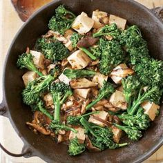 Stir-Fried #Tofu with Mushrooms and Broccoli Rabe