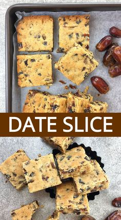 Looking for an easy slice recipe the whole family will love? This simple date slice is a quick melt and mix recipe, and doesn't need fresh dates. Baking Recipes, Cookie Recipes, Dessert Recipes, Date Slice, Chocolate Chip Shortbread Cookies, Salted Caramel Mocha, Incredible Recipes, Biscuit Recipe, Yummy Cookies