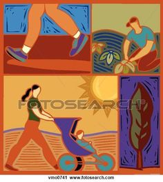 Clipart of Illustration of people doing outdoor activities vmo0741 ...