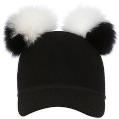 Charlotte Simone     Double Pom Sass Cap (690 RON) ❤ liked on Polyvore featuring accessories, hats, white, visor hats, sun visor hat, pom pom cap, pompom hat and sun visor