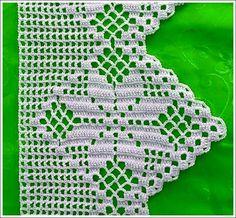 Crochet Edgings Design By Mariza Crochet Designer: Barradinhos crochet . alguns com gráficos. Crochet Blanket Edging, Crochet Edging Patterns, Crochet Borders, Filet Crochet, Crochet Motif, Crochet Doilies, Crochet Stitches, Crochet Curtains, Crochet Edgings