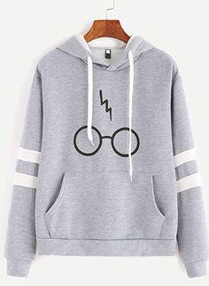 Minetom Women's Autumnn Fashion Long Sleeve Pullover Harry Potter Glasses Prints Hoodies Hooded Sweatshirt Sweater Tops Gray US 14