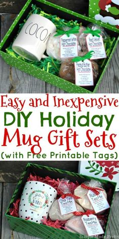If you need an inexpensive gift idea this holiday season, look no further, these mug mixes make great gifts for anyone on your list! I've put together 3 Easy and Inexpensive DIY Holiday Mug Gift Sets (with Free Printable Tags) and I'm including free printable tags with instructions for each!