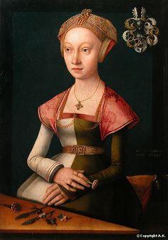 c,1500 - 1525 Jacob Utrecht (Jacob Claesz) Jeune femme à l'oeillet (Young woman with a carnation)  housed in the Louvre.