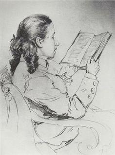 Portrait of E.G. Mamontova reading - Ilya Repin (1844 – 1930, Ukrainian-born Russian artist).