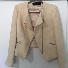 Zara Basic Tweed Neon Moto Jacket M Beautiful cream tweed moto style jacket from Zara with subtle neon stitching. Never worn, as it is a wee bit too big for me in the shoulders. Fits like a true medium - I am typically a small, which is why I am selling this beauty. Zara Jackets & Coats