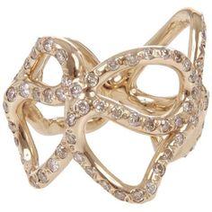 Lucifer Vir Honestus Reticolo Diamond Ring ($7,765) ❤ liked on Polyvore