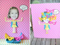 """""""I made the pin-the-mask on the super V out of a big photograph close-up of her face that I happened to have unframed,"""" Molly says. Barbie Birthday, Barbie Party, 6th Birthday Parties, Birthday Diy, Birthday Ideas, Girl Superhero Party, Super Heroine, Invitation, Alice"""