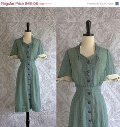 1930s 40s Green Semi Sheer Day Dress $48.00