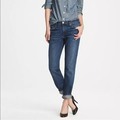 """J. Crew VINTAGE STRAIGHT Slouchy Boyfriend Jeans Slouchy rolled boyfriend denim from J.Crew.  Style is """"Vintage Straight"""" Wash is a slightly distressed medium rinse with factory-made fading and whiskering at thighs.  Mid-rise.  Inseam is given with hem fully unrolled, but they look best rolled as on the model. 100% cotton, soft, not stiff.  Has some give but no stretch.  Size 27, approximate 4, but I think they fit a 4/6 best.  Waist: 32.5"""" Rise: 9.5"""" Inseam: 29.9"""" J. Crew Jeans Boyfriend"""