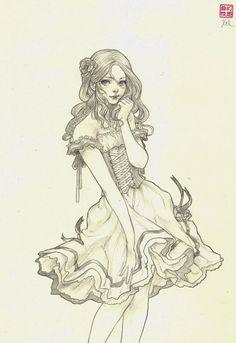 Bianca Original Drawing by jasmindarnell on Etsy, $50.00