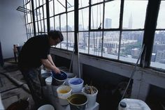 Richard Texier working in his studio in The Starret Lehigh building, New York