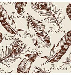 Vintage feather seamless pattern vector - by pimonova on VectorStock®