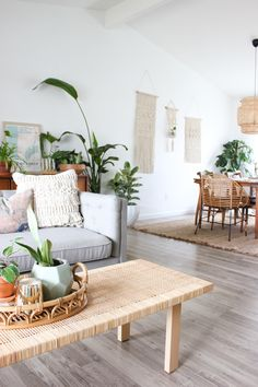A Plant Stylist's Ultra-Green Home Design Interior Living Room My Living Room, Living Room Furniture, Home Furniture, Living Room Decor, Living Spaces, Rustic Furniture, Small Living, Plants In Living Room, Antique Furniture