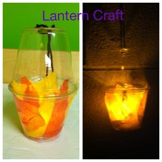 Lantern craft for Gideon's battle...clear solo cups, tissue paper, battery powered tea light