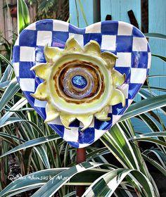 Sunflower Heart Plate Flower Garden Whimsy by GardenWhimsiesByMary