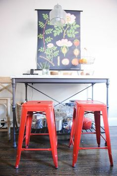 Kathryn Ivey's D.C. Home #theeverygirl #home #chairs #red #kitchen