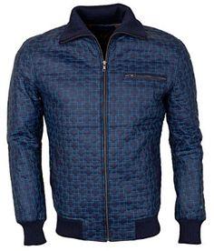Mens Blue Faux Designer Embroidered leather Jacket: Amazon.co.uk: Clothing