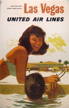 United Air Lines Las Vegas Travel Poster.